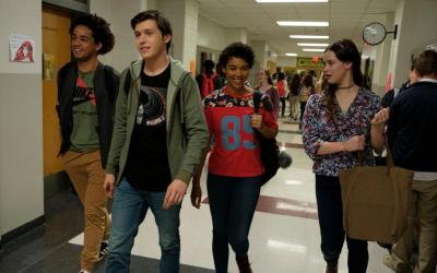 "Jorge Lendeborg, Nick Robinson, Alexandra Shipp and Katherine Langford star in scene from the movie ""Love, Simon."" The Catholic News Service classification is O -- morally offensive. The Motion Picture Association of America rating is PG-13 -- parents strongly cautioned. Some material may be inappropriate for children under 13. (CNS photo by Twentieth Century Fox)"