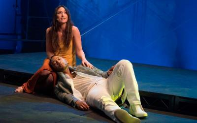 """Sara Bareilles portrays Mary Magdalene and John Legend is Christ in the NBC production of """"Jesus Christ Superstar Live in Concert,"""" airing April 1. (CNS photo by Virginia Sherwood, courtesy NBC)"""