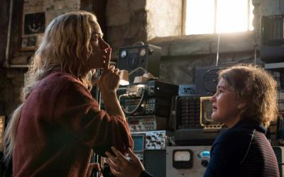 "Emily Blunt and Millicent Simmonds star in a scene from the movie ""A Quite Place."" The Catholic News Service classification is A-III -- adults. The Motion Picture Association of America rating is PG-13 -- parents strongly cautioned. Some material may be inappropriate for children under 13. (CNS photo by Paramount)"