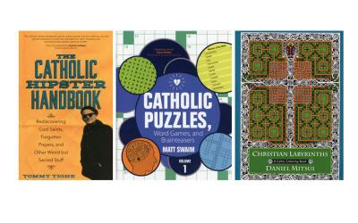 "These are the covers of ""The Catholic Hipster Handbook: Rediscovering Cool Saints, Forgotten Prayers and Other Weird but Sacred Stuff"" by Tommy Tighe; ""Catholic Puzzles, Word Games and Brainteasers"" by Matt Swaim; and ""Christian Labyrinths: A Celtic Coloring Book"" by Daniel Mitsui. The books are reviewed by Regina Lordan. (Photo by CNS)"