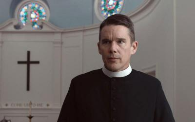 "Ethan Hawke stars in a scene from the movie ""First Reformed."" (CNS photo courtesy A24)"