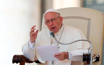 Pope Francis speaks during his general audience in St. Peter's Square at the Vatican June 20. (CNS photo by Paul Haring)