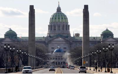 The Pennsylvania statehouse is seen from the State Street bridge in Harrisburg.