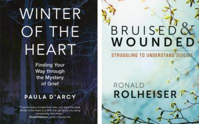 "These are the covers of ""Winter of the Heart: Finding Your Way Through the Mystery of Grief"" by Paula D'Arcy and ""Bruised and Wounded: Struggling to Understand Suicide"" by Ronald Rolheiser. The books are reviewed by Daniel S. Mulhall. (Photo by CNS)"