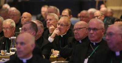 Bishops listen to a speaker Nov. 14 at the fall general assembly of the U.S. Conference of Catholic Bishops in Baltimore. (CNS photo by Bob Roller)