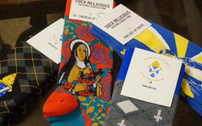 A variety of socks, including socks created especially for the Diocese of Little Rock, Ark., are available for Catholics to wear their faith on their feet. (CNS photo by Aprille Hanson/ Arkansas Catholic)