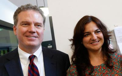 In this 2016 file photo, Greg Burke, director of the Vatican press office and Vatican spokesman, and Paloma Garcia Ovejero, the vice director, are pictured at the Vatican press office. Pope Francis accepted their resignations Dec. 31. The pope appointed Alessandro Gisotti, coordinator of social media at the Vatican Dicastery for Communication, to serve as interim director of the press office. (CNS photo by Paul Haring)