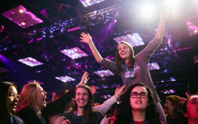 Young people react Jan. 5 during SEEK2019 at the Indiana Convention Center in Indianapolis. The Jan. 3-7 conference drew more than 17,000 young adult Catholics from around the world. (CNS photo courtesy Fellowship of Catholic University Students)