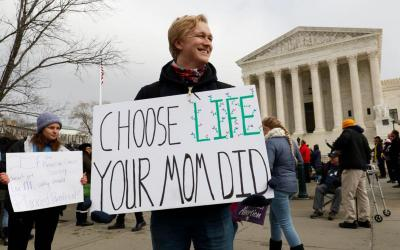 Austin Jennings, a member of the Students for Life at the University of Mary Washington in Fredericksburg, Va., joins pro-life advocates in front of the Supreme Court during the March for Life Jan. 18, 2019. (CNS photo by Gregory A. Shemitz)