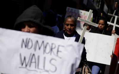 Demonstrators protest U.S. President Donald Trump's national emergency declaration in El Paso, Texas, Feb. 23, 2019. (CNS photo by Jose Luis Gonzalez/Reuters)