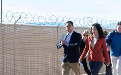 U.S. Rep. Joaquin Castro, D-Texas, and Rep. Xochitl Torres Small, D-N.M., exit after touring a Border Patrol substation in Alamogordo, N.M., Jan. 7, 2019, with other legislators investigating the circumstances that led to the death of Felipe Gomez Alonzo, an 8-year-old Guatemalan boy who died in immigration detention. (CNS photo by Julio-Cesar Chavez/Reuters)