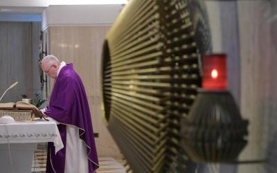 Pope Francis celebrates Mass March 8, 2019, in the chapel of his Vatican residence, the Domus Sanctae Marthae. (CNS photo by Vatican Media).
