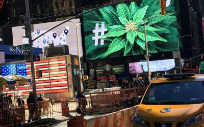 In this 2016 file photo, a billboard in New York City displays a marijuana hashtag. The New York State Catholic Conference called on the state's legislators to reject any proposal that would legalize recreational marijuana use. (CNS photo by Shannon Stapleton, Reuters)