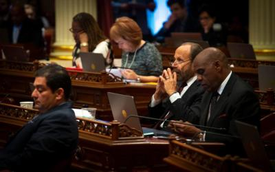 California state Democratic Sen. Jerry Hill presses his hands together as he listens on the senate floor of the California State Capitol Building in Sacramento May 9, 2019. (CNS photo by Chaz Muth)