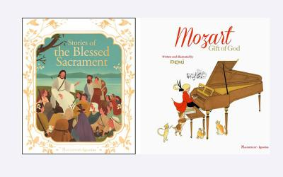 """These two books, """"Stories of the Blessed Sacrament"""" by Francine Ray and """"Mozart: Gift of God"""" by Demi, are suitable for summer reading for children. (Photo by CNS)"""