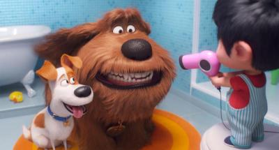 """Max, voiced by Patton Oswalt, Duke, voiced by Eric Stonestreet, and Liam, voiced by Henry Lynch, appear in the animated movie """"The Secret Life of Pets 2."""" (CNS photo by Universal)"""