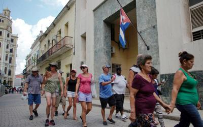 A group of U.S. tourists from a cruise ship walk through a street in Havana June 5, 2019. (CNS photo by Alexandre Meneghini/Reuters)