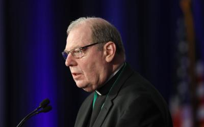 Bishop Robert P. Deeley of Portland, Maine, speaks on the first day of the spring general assembly of the U.S. Conference of Catholic Bishops in Baltimore June 11, 2019. (CNS photo by Bob Roller)