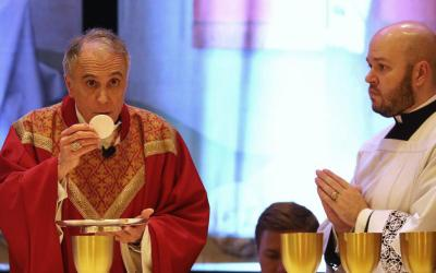 Cardinal Daniel N. DiNardo of Galveston-Houston, president of the U.S. Conference of Catholic Bishops, concelebrates Mass at the spring general assembly of the USCCB in Baltimore June 11, 2019. (CNS photo by Bob Roller)