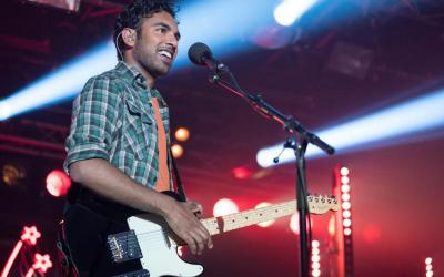 "Himesh Patel stars in a scene from the movie ""Yesterday."""