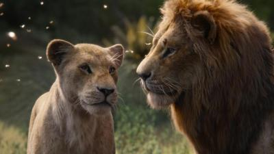 "The characters Nala, voiced by Beyonce Knowles-Carter, and Simba, voiced by Donald Glover, appear in the movie ""The Lion King.""  (CNS photo by Disney)"