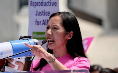 Dr. Leana Wen, then Planned Parenthood president, speaks at a protest against restrictions on abortion outside the U.S. Supreme Court in Washington May 21, 2019.  (CNS photo by James Lawler Duggan/Reuters)