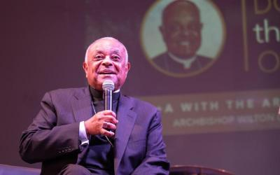 Washington Archbishop Wilton D. Gregory answers questions and listens to the young people of the archdiocese Aug. 13, 2019, as the special guest speaker at DC Catholic's monthly Theology on Tap.
