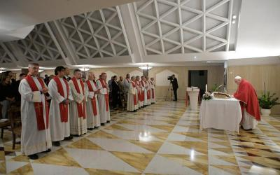 Pope Francis celebrates Mass Sept. 16, 2019, in the chapel of the Domus Sanctae Marthae, where he lives.