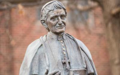A statue of Blessed John Henry Newman is seen Feb. 5, 2018, on the campus of Newman University in Wichita, Kan.