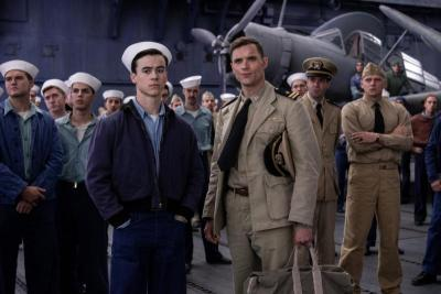 """Keean Johnson and Ed Skrein star in a scene from the movie """"Midway."""""""