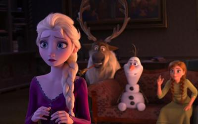 "Elsa, voice of Idina Menzel, and other animated characters appear in the movie ""Frozen II."""