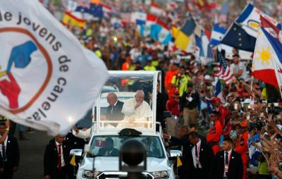 Pope Francis arrives to lead the World Youth Day prayer vigil at St. John Paul II Field in Panama City Jan. 26, 2019.