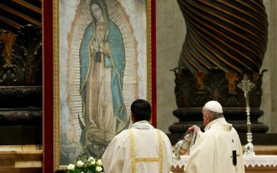 ope Francis uses incense as he venerates an image of Our Lady of Guadalupe during a Mass marking her feast day in St. Peter's Basilica at the Vatican Dec. 12, 2019.