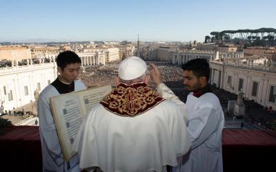 "Pope Francis delivers his Christmas blessing ""urbi et orbi"" (to the city and the world) from the central balcony of St. Peter's Basilica at the Vatican Dec. 25, 2019."