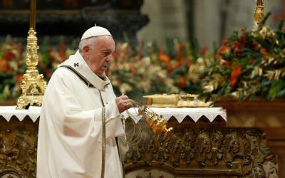 Pope Francis uses incense as he celebrates Mass