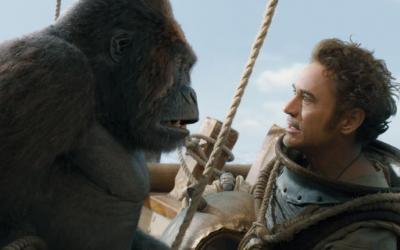 """Robert Downey Jr. and a gorilla named Chee-Chee star in a scene from the movie """"Dolittle."""""""