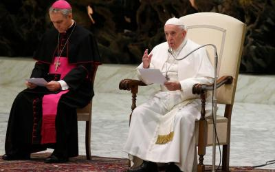 Pope Francis speaks during his general audience in Paul VI hall at the Vatican Jan. 15, 2020.