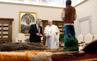 Pope Francis speaks with Argentine President Alberto Fernandez during a private audience at the Vatican Jan. 31, 2020.