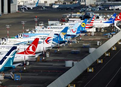 Airplanes are seen at Boeing Field in Seattle March 21, 2019.
