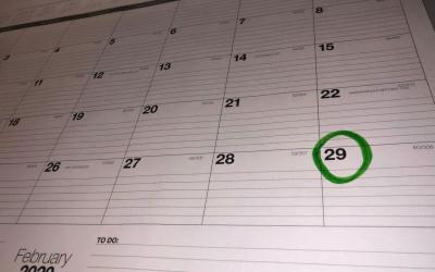 A calendar showing February with the 29th circled.
