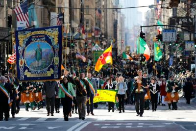 Marchers make their way up Fifth Avenue during the 258th annual St. Patrick's Day Parade in New York City March 16, 2019.