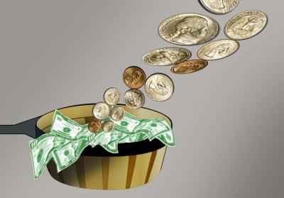 This illustration depicts money going into a collection basket.