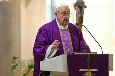 Pope Francis gives his homily during his livestreamed Mass March 24, 2020, from the chapel of his Vatican residence, the Domus Sanctae Marthae.