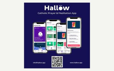 This is an advertisement for the Catholic app Hallow, which is centered on prayer and meditation.