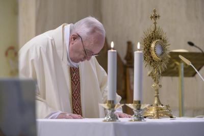 Pope Francis celebrates Mass April 30, 2020, in the chapel of his Vatican residence, the Domus Sanctae Marthae.