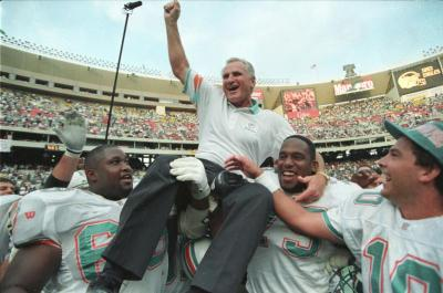Don Shula is carried off the field after defeating the Philadelphia Eagles in this 1993 file photo.