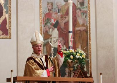 Archbishop Alexander K. Sample of Portland, Ore., gives his homily during the livestreamed Easter Vigil at St. Mary Cathedral in Portland April 11, 2020.