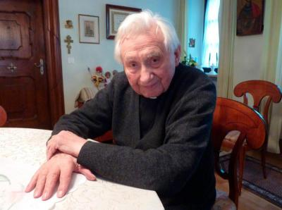 Msgr. Georg Ratzinger, the brother of Pope Benedict XVI, is pictured at his home in Regensburg, Germany, in 2011.