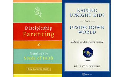 """These are the book covers of """"Discipleship Parenting: Planting the Seeds of Faith"""" by Kim Cameron-Smith and """"Raising Upright Kids in an Upside-Down World: Defying the Anti-Parent Culture"""" by Ray Guarendi."""
