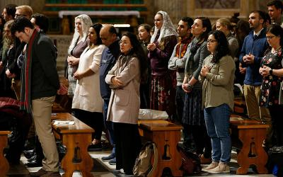Young adults from the Archdiocese of St. Paul and Minneapolis, the Diocese of New Ulm, Minn., and the Diocese of Bismarck, N.D., attend Mass with U.S. bishops at the Basilica of St. Paul Outside the Walls in Rome Jan. 15, 2020.